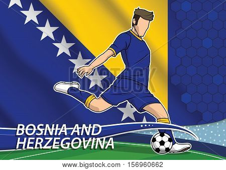 Vector illustration of football player shooting on goal. Soccer team player in uniform with state national flag of Bosnia and Herzegovina.