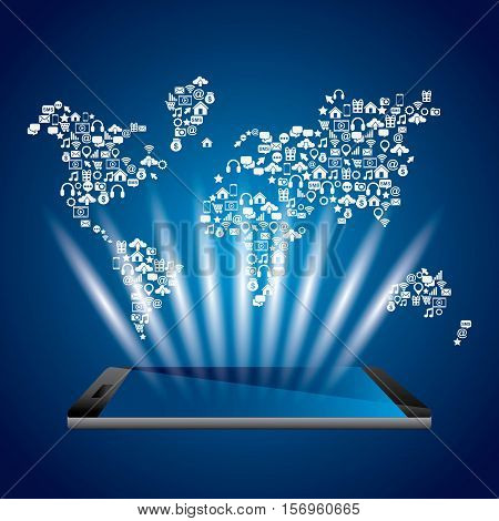 smartphone devie with world map over blue background. mobile world design. vector illustration