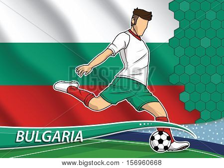 Vector illustration of football player shooting on goal. Soccer team player in uniform with state national flag of Bulgaria.