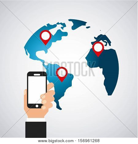 human hand holding over earht planet over white background. vector illustration