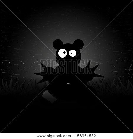 Toy bear with big eyes. Night sky. Vector illustration