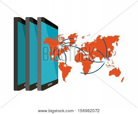 smartphone devices and orange world map icon over white background. vector illustration