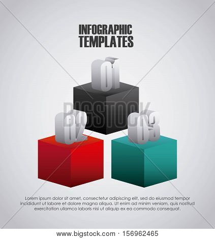 colorful infographic template presentation with cubes and numbers. vector illustration