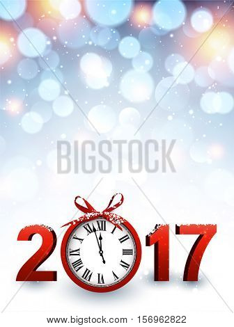 2017 New Year luminous background with red clock. Vector illustration.