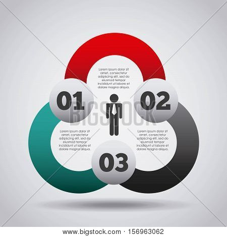 colorful infographic template presentation with numbers and businessman icon. vector illustration