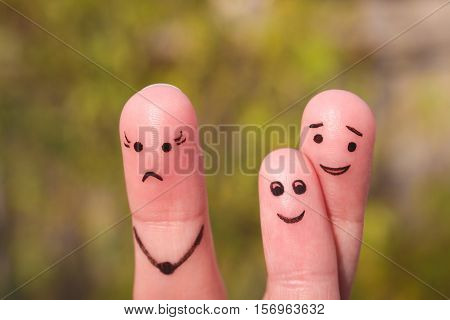 Finger art of family during quarrel. Concept of child is friends with his father. Idea parents divorced, kid remained with dad.