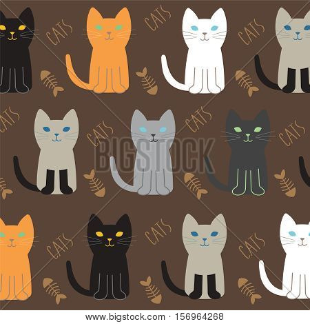 Cat Breed Set with black cat white cat grey cat grey and white cat brown and black act brown cat. Vector Illustration Cartoon.