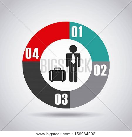 infographic presentation template with numbers and businessman icon. colorful design. vector illustration