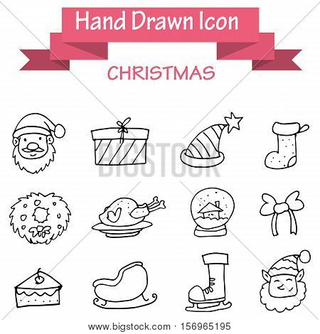 Hand draw christmas icons stock vector illustration
