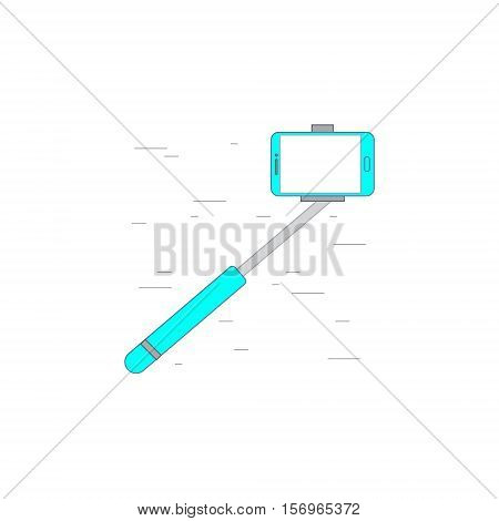 Vector illustration or icon showing selfie stick monopad for photo in outline style with noisy background