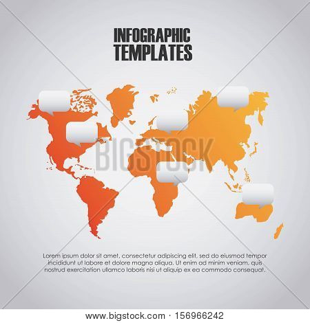 infographic presentation template with world map icon. colorful design. vector illustration
