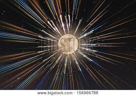 Abstract speed lines motion to the moon, with stars background, time travel,space travel concept