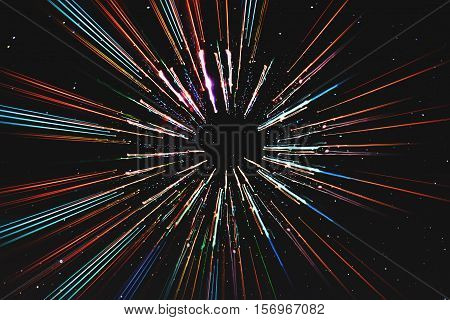 Abstract speed lines motion, with stars background, space travel, time travel concept