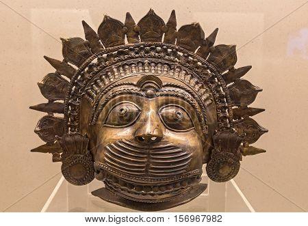 KOLKATA, INDIA - NOVEMBER 8, 2016: Indian face mask from the Bhuta tribe and folk people of Karnataka, India on display at the Indian museum, Kolkata.