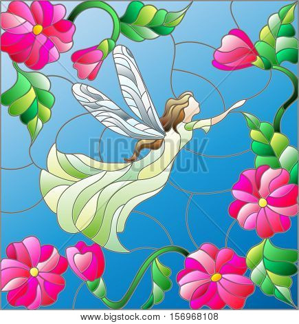 Illustration in stained glass style with a winged fairy in the sky flowers and greenery