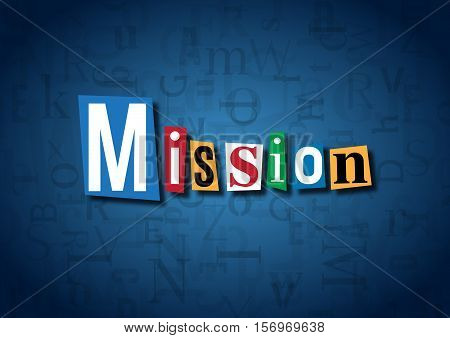 The word Mission made from cutout letters