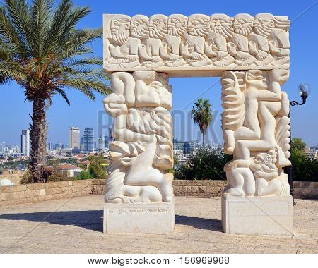 JAFFA ISRAEL 05 11 16: Faith Monument made of Galilee stone, stands at the top of Abrasha Park in the Old City of Jaffa. The huge, solid pillars, each being four meters in length, speak of strength.
