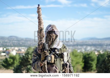 sniper rifle weapon on hand scope multicam ghillie suit