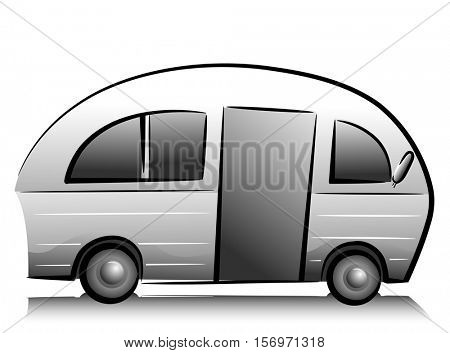Black and White Illustration Featuring a Recreational Vehicle Ready for Travel