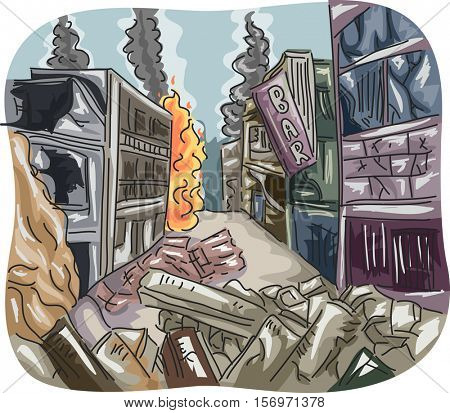 Editorial Illustration Featuring a City Left in Ruins After Becoming a Battleground