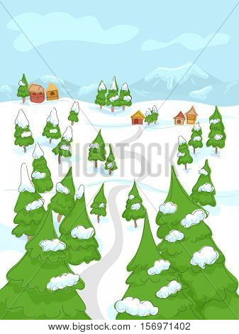 Landscape Illustration of a Rural Town Partially Buried in Snow on a Winter Day
