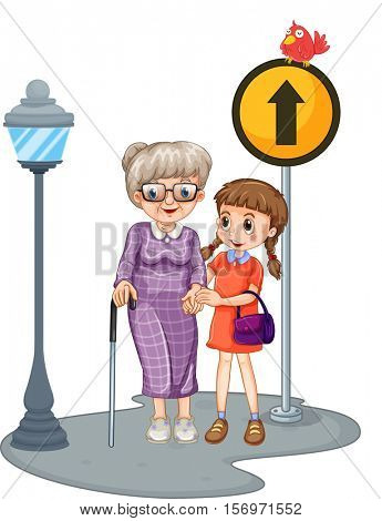 Grandmother and kid crossing the street illustration