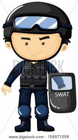 SWAT in protection uniform illustration