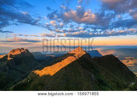 Mountain sunrise sky Doi Luang Chiang Dao Thailand.