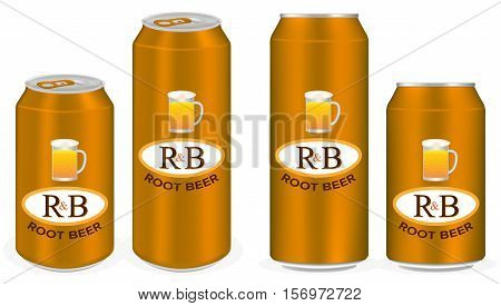root beer aluminium soft drink cans vector