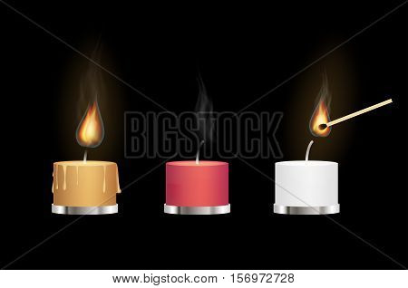 yellow red and white aroma candles burning with matchstick