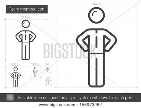 Team member vector line icon isolated on white background. Team member line icon for infographic, website or app. Scalable icon designed on a grid system.