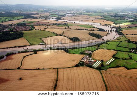 Corn fields, Gloucestershire. Aerial Shot. Agriculture. River Severn.