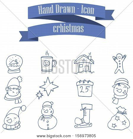 Collection stock Christmas theme icons with hand draw