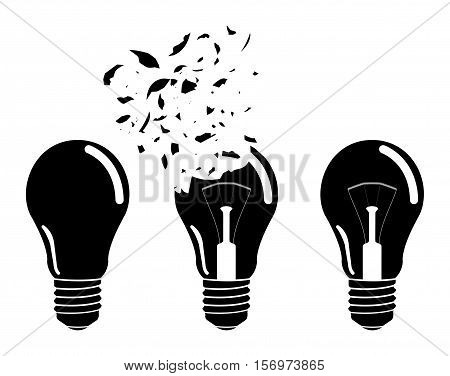 incandescent lamp icon sign on a white background