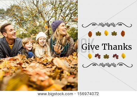 Digital Composite of Happy Family and Thanksgiving Message