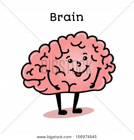 Cute and funny human brain character, cartoon vector illustration isolated on white background. Healthy smiling brain character with arms and legs