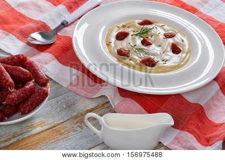 Beer And Cream Spicy Winter Soup With Kielbasa Sausage