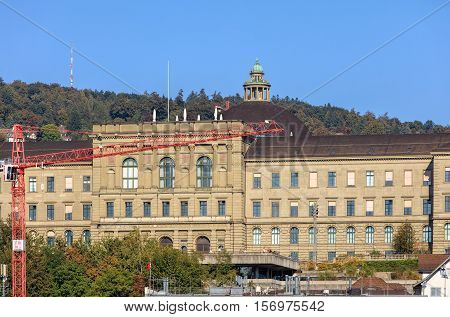 Zurich, Switzerland - 25 September, 2016: building of the Swiss Federal Institute of Technology in Zurich, view from the Lindenhof park. Swiss Federal Institute of Technology in Zurich is a science, technology, engineering and mathematics university.
