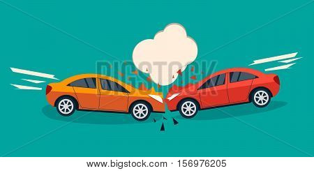 Car crash banner. Car crash comic style vector illustration. Car accident concept illustration. Car accident flat design.