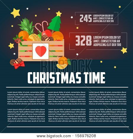 Christmas wooden box with fruit and dessert infographics. Christmas template flat style. Christmas box vector illustration. Business letterhead template. Christmas time template.