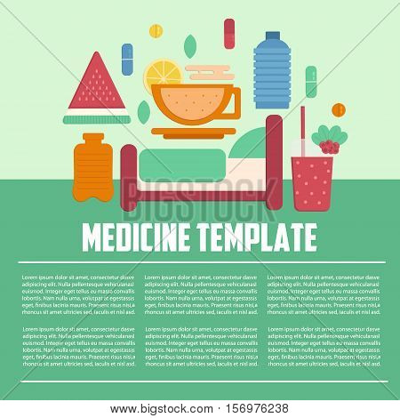 Medicine template flat style. Illness treatment template. Pills and prevention infographics. Medical business letterhead template. Business template for hospitals.