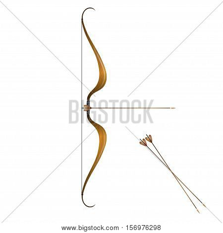 Vintage bow and arrows isolated on white background.