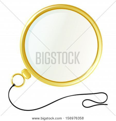 Illustration monocle with gold rim isolated on white background.