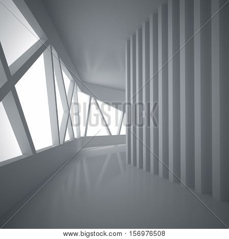 3d illustration. White interior of not existing building. The walls of vertical and inclined elements with reflection on the floor. Perspective view render.
