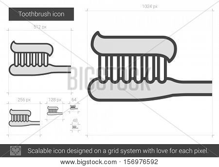 Toothbrush vector line icon isolated on white background. Toothbrush line icon for infographic, website or app. Scalable icon designed on a grid system.