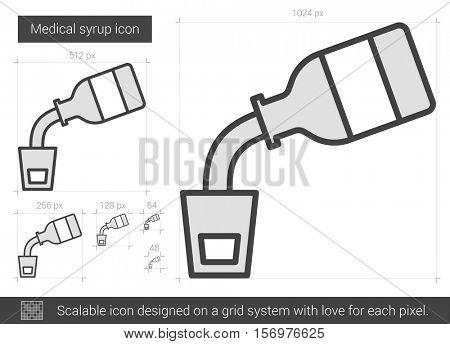 Medical syrup vector line icon isolated on white background. Medical syrup line icon for infographic, website or app. Scalable icon designed on a grid system.