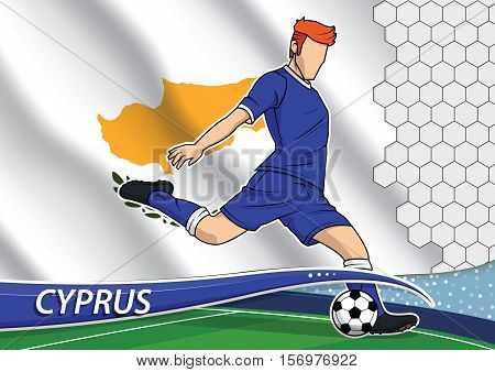 Vector illustration of football player shooting on goal. Soccer team player in uniform with state national flag of Cyprus.
