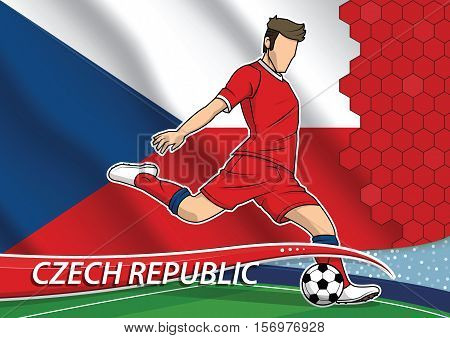Vector illustration of football player shooting on goal. Soccer team player in uniform with state national flag of Czech republic.