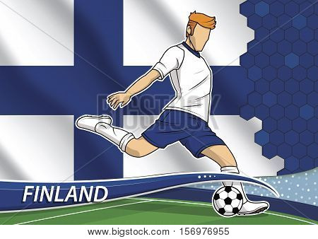 Vector illustration of football player shooting on goal. Soccer team player in uniform with state national flag of Finland.