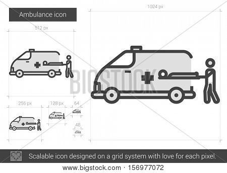 Ambulance vector line icon isolated on white background. Ambulance line icon for infographic, website or app. Scalable icon designed on a grid system.